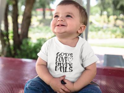 God's Love Never Fails - Baby Jersey Short Sleeve Tee