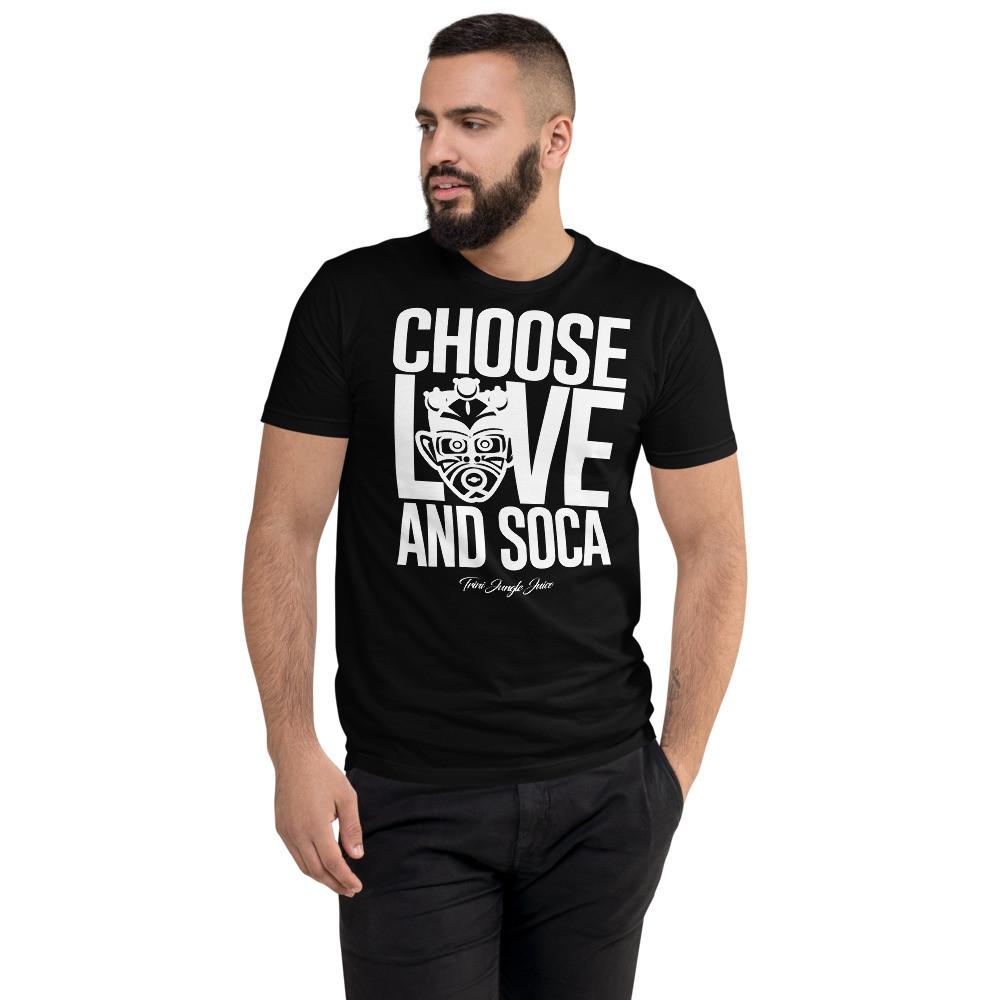 CHOOSE LOVE AND SOCA - Men's T-Shirt (White Print)