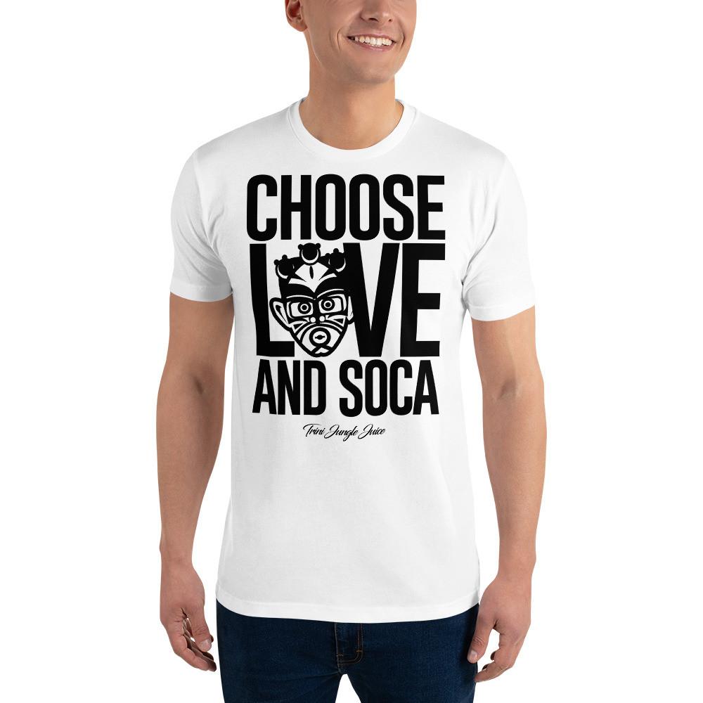 CHOOSE LOVE AND SOCA - Men's T-Shirt (Black Print)