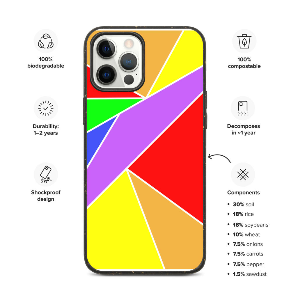 Biodegradable Rainbow Pattern iPhone Case