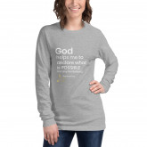 God helps me to declare what is possible not any limitations - deydreaming mindful outerwear - long sleeve gray t-shirt