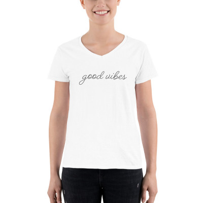 Good Vibes • Women's Casual V-Neck Shirt
