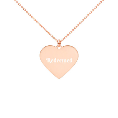 Redeemed Engraved Silver Heart Necklace