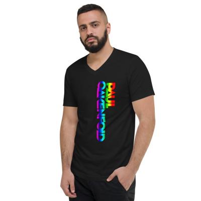 Paul Oakenfold - Rainbow Logo - Unisex Short Sleeve V-Neck T-Shirt