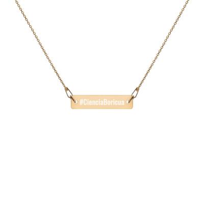 Ciencia Boricua Engraved Bar Chain Necklace
