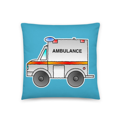 Ambulance Car Toy Cartoon Vehicle Pillow Cushion