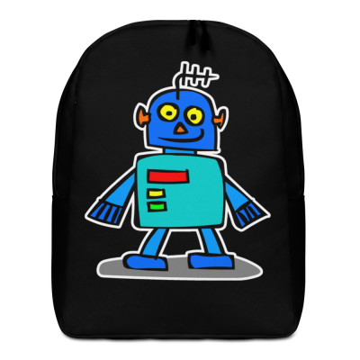 Blue Robot Kids Cartoon Cute Hand Drawn Japanese Minimalist Backpack
