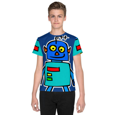 All-Over Blue Android Robot Cartoon Cute Modern Print T-Shirt