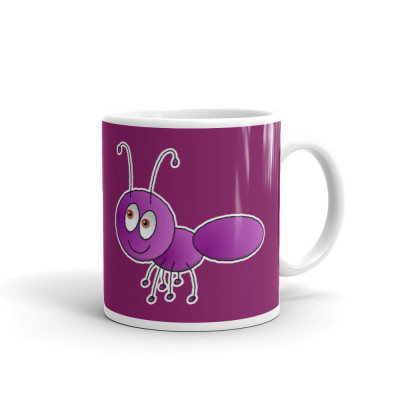 Ant Hand Drawn Purple Coffee Mug Teacher Gift Present Phonics Letter Sounds School