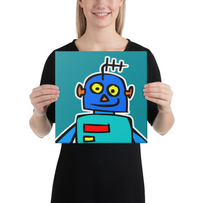 Blue Robot Yellow Eyes Teal LEDs Alien Canvas Print Studio Office Classroom Home