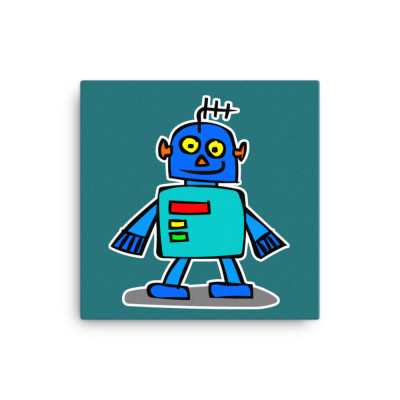 Blue Robot Teal Canvas Print Cute Cartoon Japanese Android Cartoon Alien Contemporary