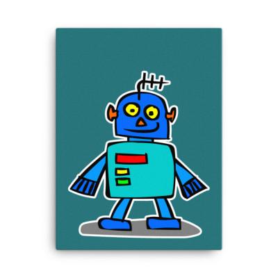 Blue Robot Teal Canvas Print Cute Cartoon Japanese Android Cartoon Alien Contemporary