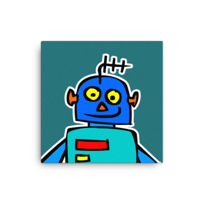 Blue Robot LED Yellow Eyes Alien Cartoon Japanese Canvas Print Home Office Classroom