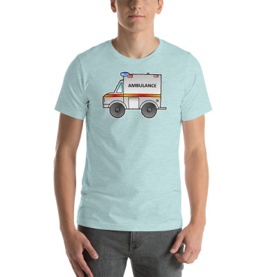 Ambulance Emergency Vehicle First Responder Hero Short-Sleeve Cartoon Unisex T-Shirt
