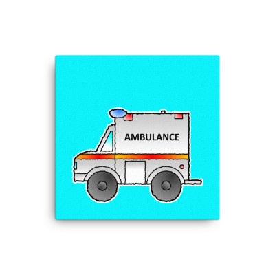 Ambulance Emergency Vehicle First Responder Hero Short-Sleeve Cartoon Canvas