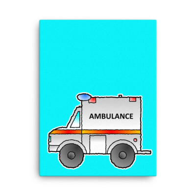 Ambulance Emergency Vehicle First Responder Hero Short-Sleeve Cartoon Canvas