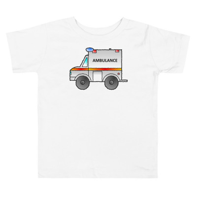 Ambulance Emergency Vehicle First Responder Hero Cartoon Toddler Short Sleeve Tee