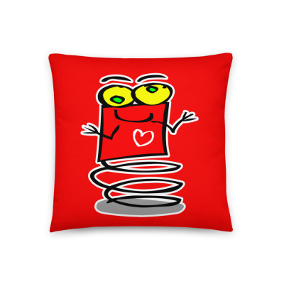 Boingy the Red Bouncing Valentines Day Love Heart Alien Robot Spring Cute Basic Pillow