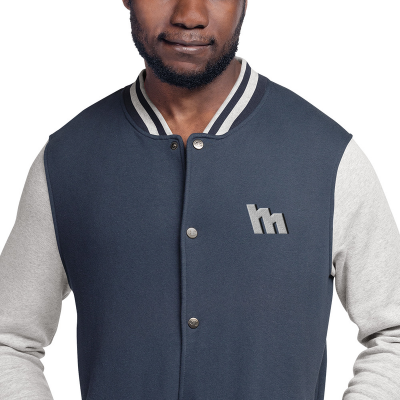 M Logo Silver Embroidered Bomber Jacket