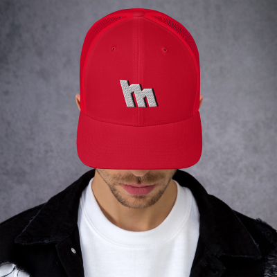 M Logo Silver Embroidered Trucker Cap