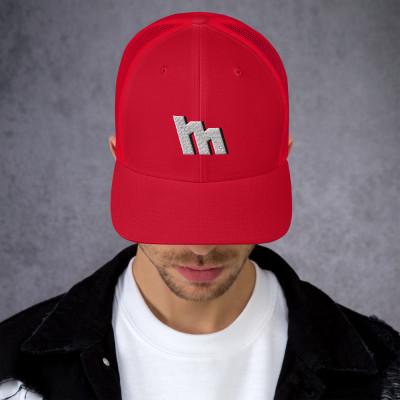 M Logo Silver Embroidered Trucker Cap