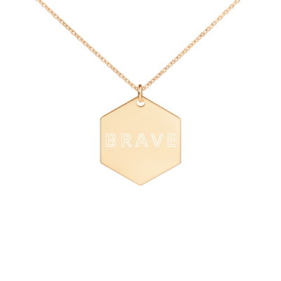 Brave - Engraved Silver Hexagon Necklace