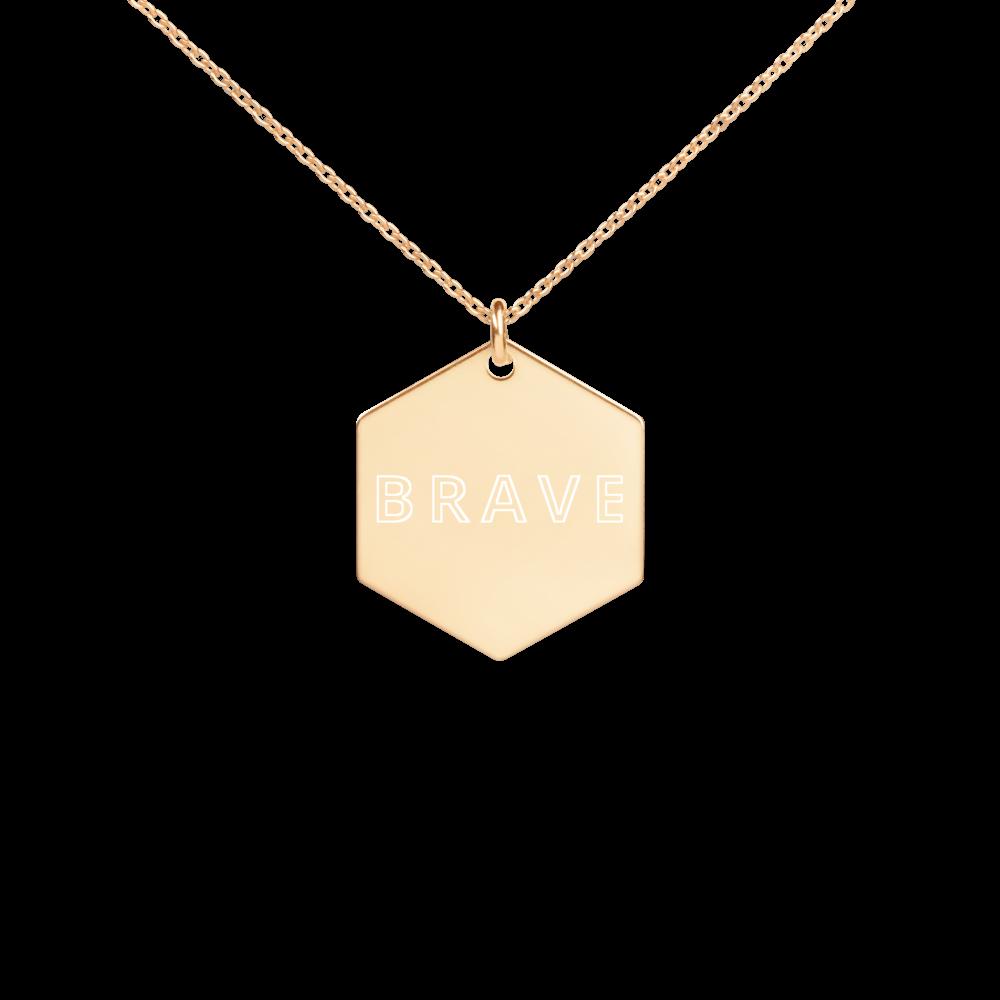 Brave - Engraved Silver Hexagon Necklace