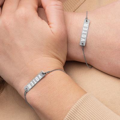 VOTER Engraved Silver Bar Chain Bracelet