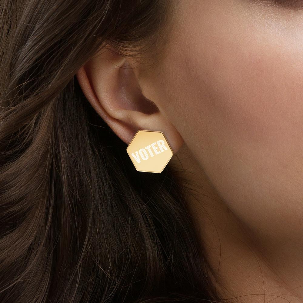 VOTER Sterling Silver Hexagon Stud Earrings