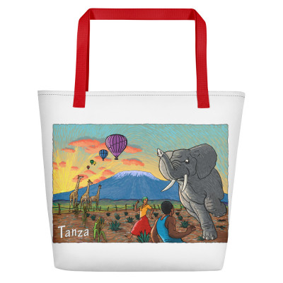 Tanza Beach Bag - Red Pocket