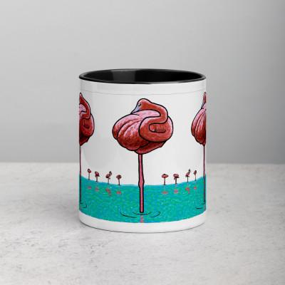Mug with Black Inside - Flamingos