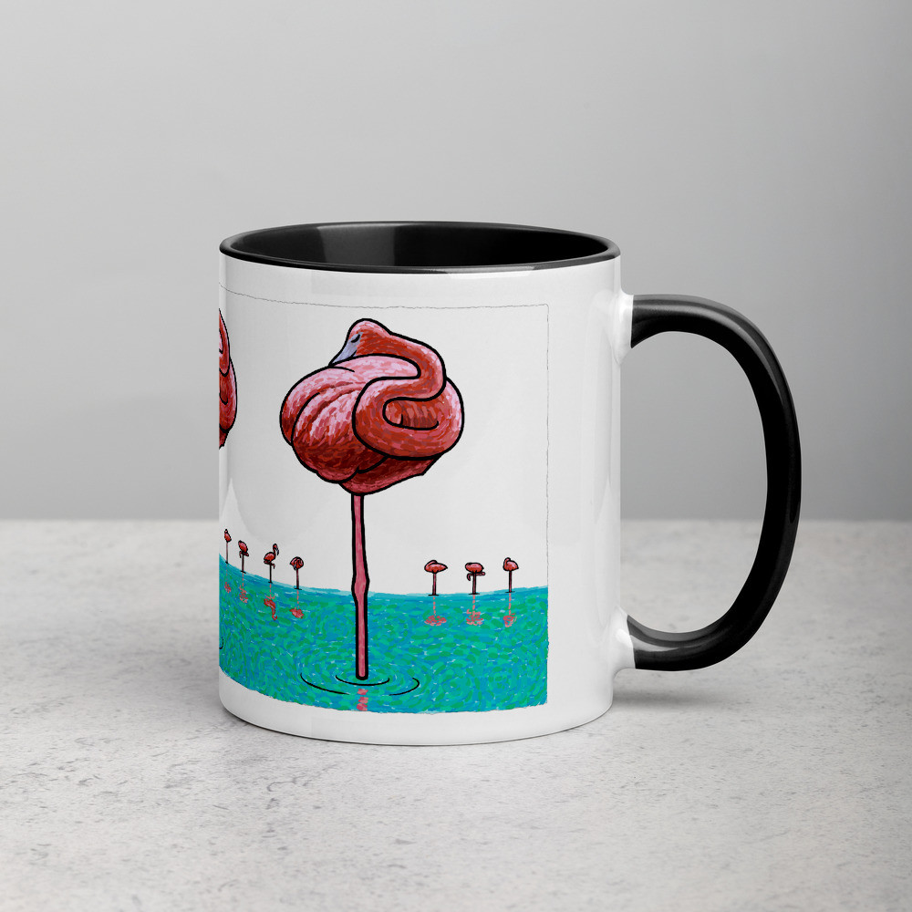 Mug with Black Inside - Flamingos