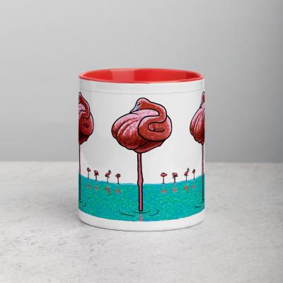 Mug with Red Inside - Flamingos