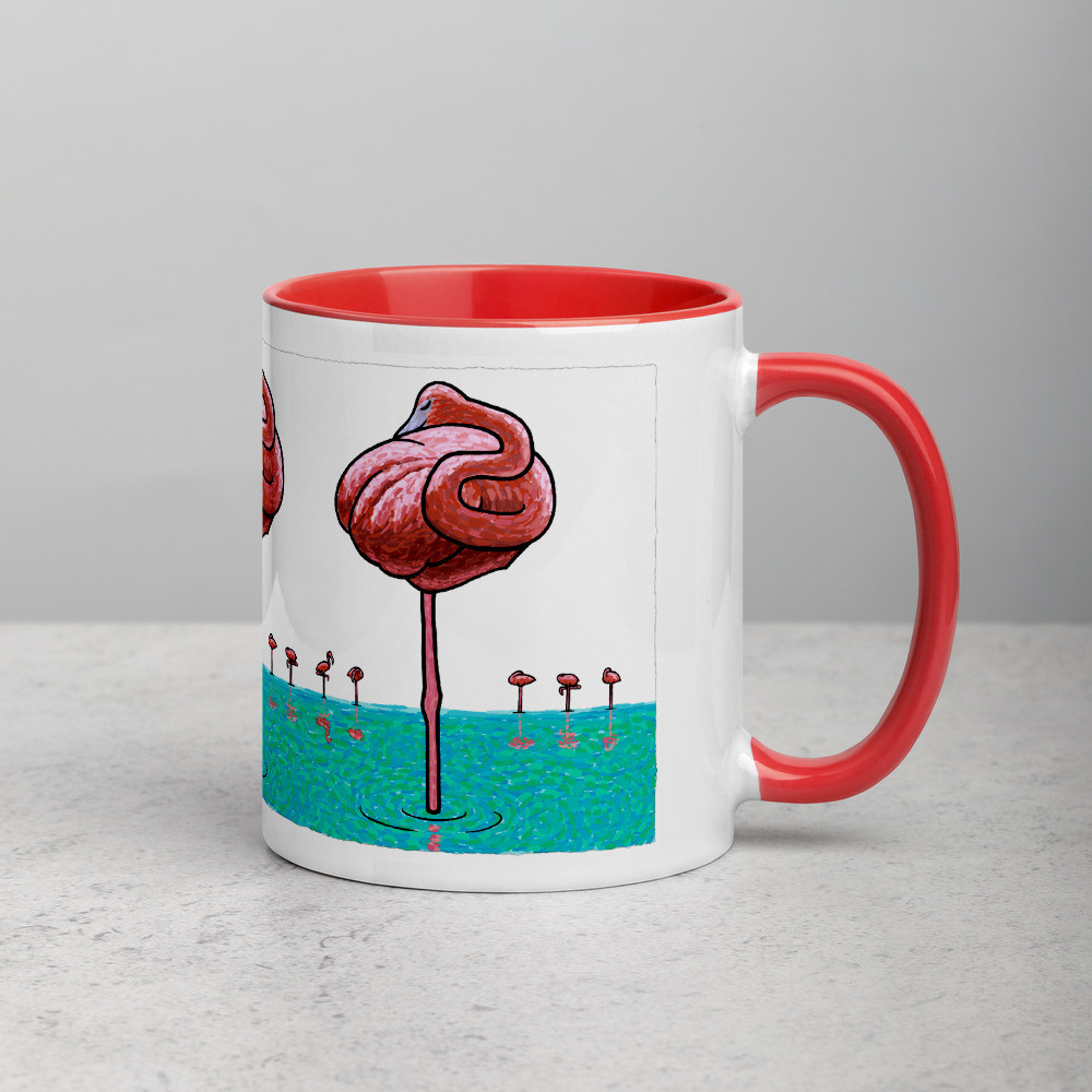 Mug with Red Inside - Flamingos
