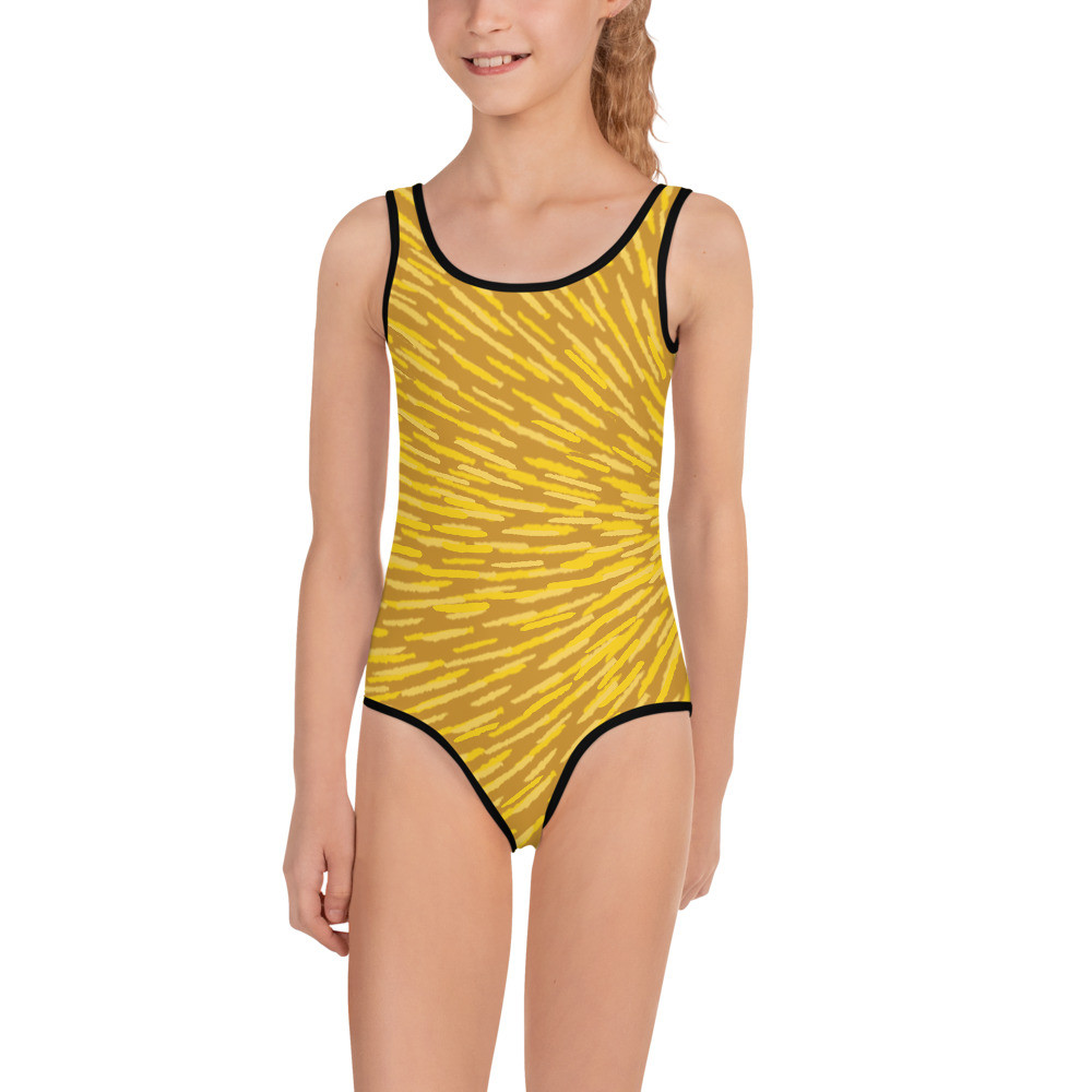 Yellow All-Over Print Kids Swimsuit