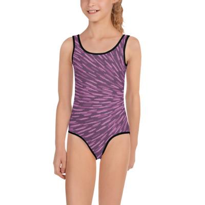 Purple All-Over Print Kids Swimsuit