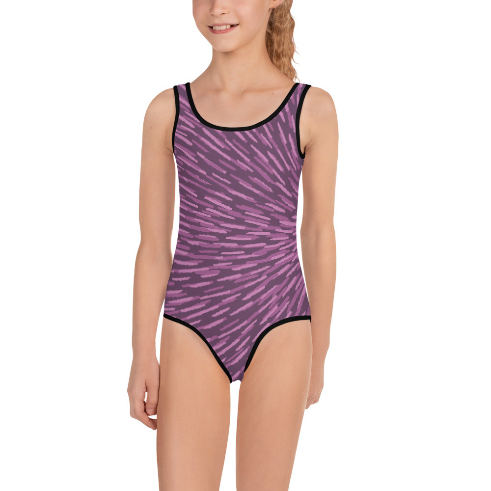 Purple All-Over Print Kids Swimsuit