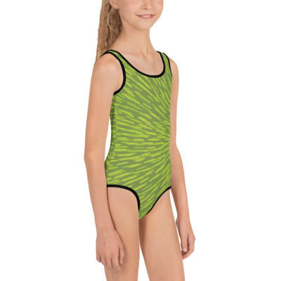 Green All-Over Print Kids Swimsuit