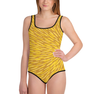 Yellow All-Over Print Youth Swimsuit