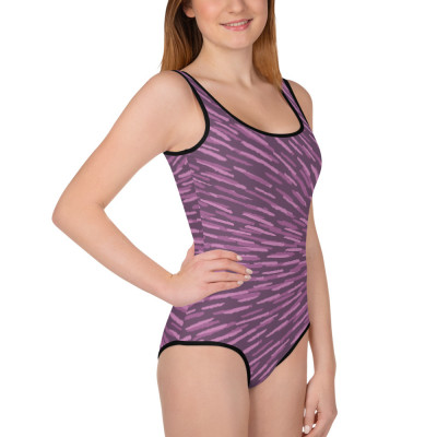 Purple All-Over Print Youth Swimsuit