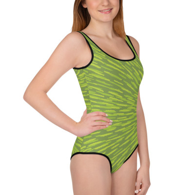 Green All-Over Print Youth Swimsuit