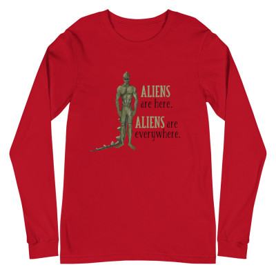 Aliens Are Here Long Sleeve Shirt Women, Men, Alien Contact, ETs, UFOs, Indigos, Starseeds, Lightworker, Spirituality, Scifi, Fantasy