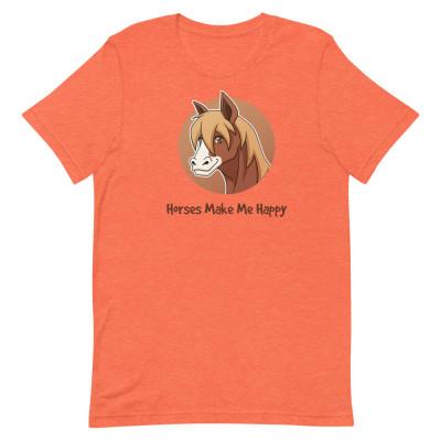 Horses Make Me Happy Short-Sleeve Unisex T-Shirt, Horse Lover Women Shirts, Equestrian TShirts, Horsey Shirts, Horse Men Shirts