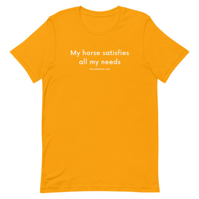 My Horse Satisfies All My Needs Short-Sleeve Horse T-Shirt | Equestrian Shirt | Funny Horse Shirts