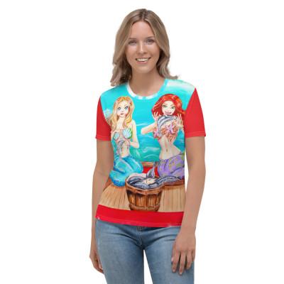 """She Did It"" mermaid sisters Women's T-shirt"