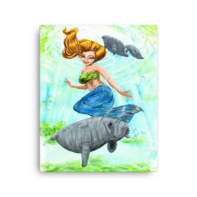 Mermaid and Manatee Spring Canvas