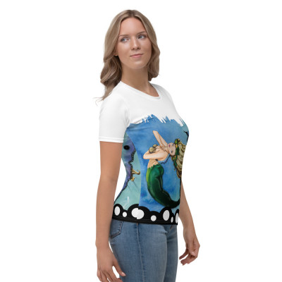 Blue Butterfly Mermaid Women's T-shirt