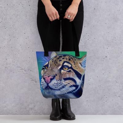 Clouded Leopard Realistic Pastel Art Tote bag