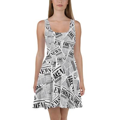Fake News Newspaper Print - Skater Dress