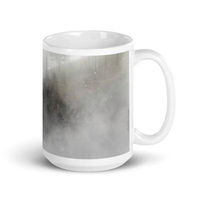 Misty Trees Where Dreams Sleep White glossy mug